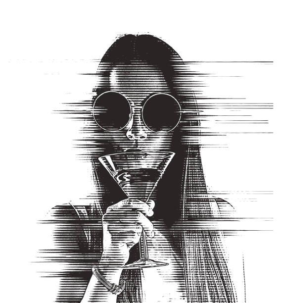 Bекторная иллюстрация Beautiful Young woman drinking martini with glitch technique