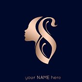 Cosmetics, Spa, Beauty and Hair salon lettering logo with woman portrait