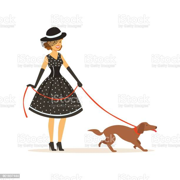 Beautiful young woman in a black polka dot dress and hat walking with vector id901837444?b=1&k=6&m=901837444&s=612x612&h=2bmayois0 v7zmdt0qpgmgv9bwif922qnepgubiqadg=