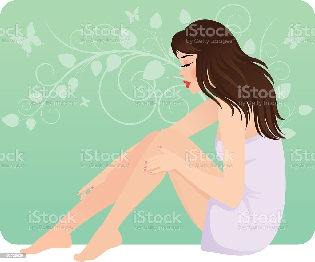 Beautiful young woman in towel sitting on the floor royalty-free stock vector art