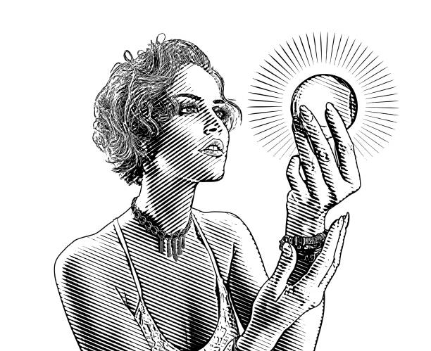 Beautiful young woman looking into crystal ball vector art illustration