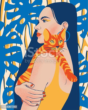 Beautiful young woman portrait holding a cat. Lady with long black hair on summer tropical plants background. Summer Illustration of happy pet owner.
