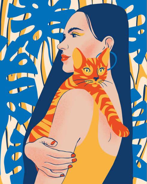 ilustrações de stock, clip art, desenhos animados e ícones de beautiful young woman portrait holding a cat. pet owner. - só adultos
