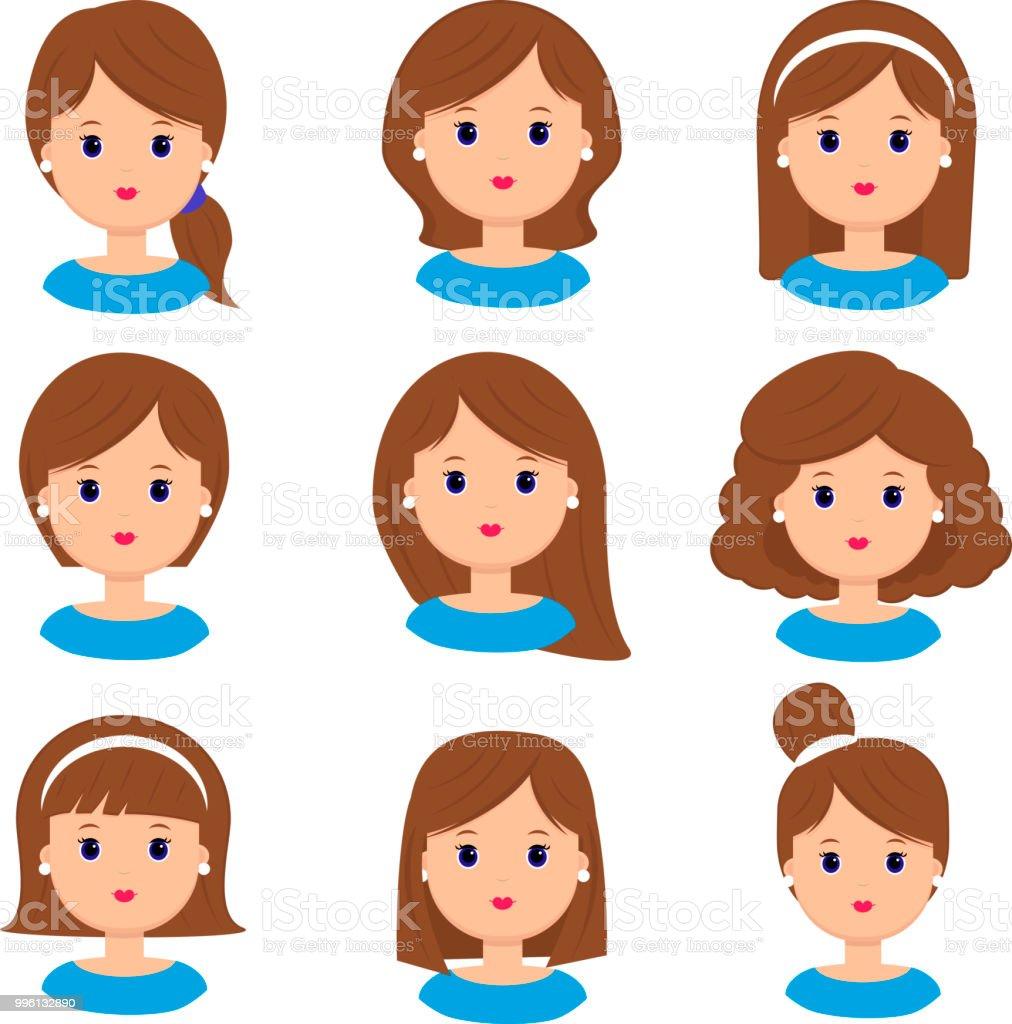 Schöne Junge Frau Portrait Mode Lange Haare Kurze Haare Lockiges