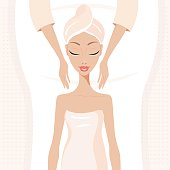 Beautiful young woman relaxing at spa salon Face Body massage Vector illustration