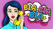 Beautiful young woman talking on the phone. Bla Bla Bla Message. Retro pop art style. Vector illustration.