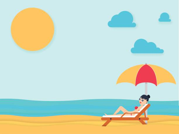 Beautiful young woman tanning, with sunglasses at the beach. Summer holiday. vector art illustration