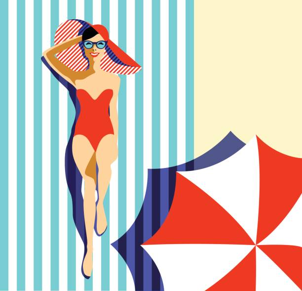 beautiful young woman tanning, with sunglasses, hat, retro style. pop art. summer holiday. - beach fashion stock illustrations, clip art, cartoons, & icons