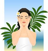 Young woman enjoying her skin.