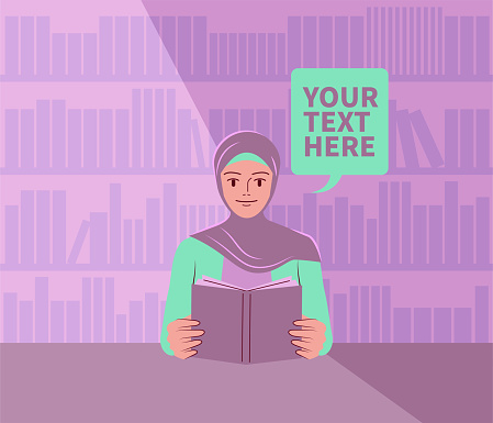 Beautiful young woman with a hijab is reading a book in the library; Never stop learning; To invest in yourself; Knowledge is power