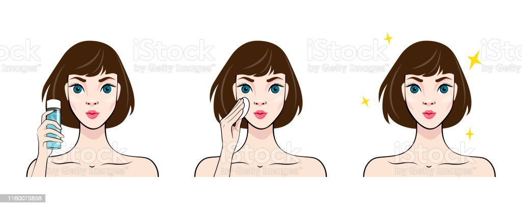 Beautiful Young Woman With Clean Fresh Skin Beauty Skin Care Cartoon Girl With Lotion Bottle Vector Illustration Stock Illustration Download Image Now Istock