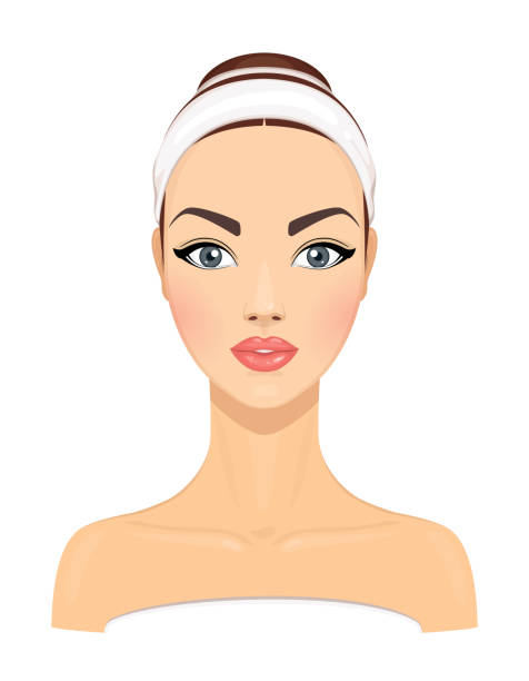 美麗的年輕婦女與乾淨的新鮮皮膚隔離在白色的背景。女孩頭像。面部美容治療模型。皮膚護理的概念。向量插圖 - 美麗的人 幅插畫檔、美工圖案、卡通及圖標