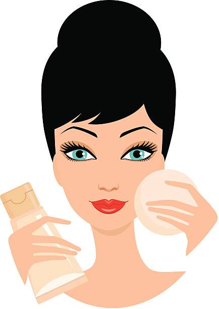 Image result for girl applying foundation cartoons