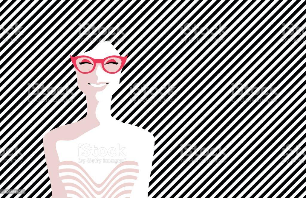 47c51ae27 Mulher jovem e bonita com óculos, estilo retrô. Pop art. Férias de verão