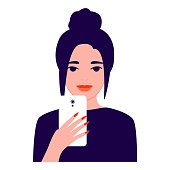 Beautiful young woman with mobile phone, front view. Girl makes selfie. Photographing, reading, chatting. Smartphone and internet addiction. Vector flat illustration