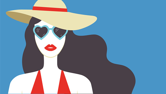 Beautiful young woman with red lips wearing hat and heart shaped sunglasses. Summer fashion poster. - Vector