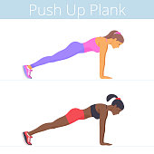 Beautiful black and white young women are doing the push up plank exercise. Flat illustration of caucasian and afro-american sporty girls are training in the plank position. Vector active people set.