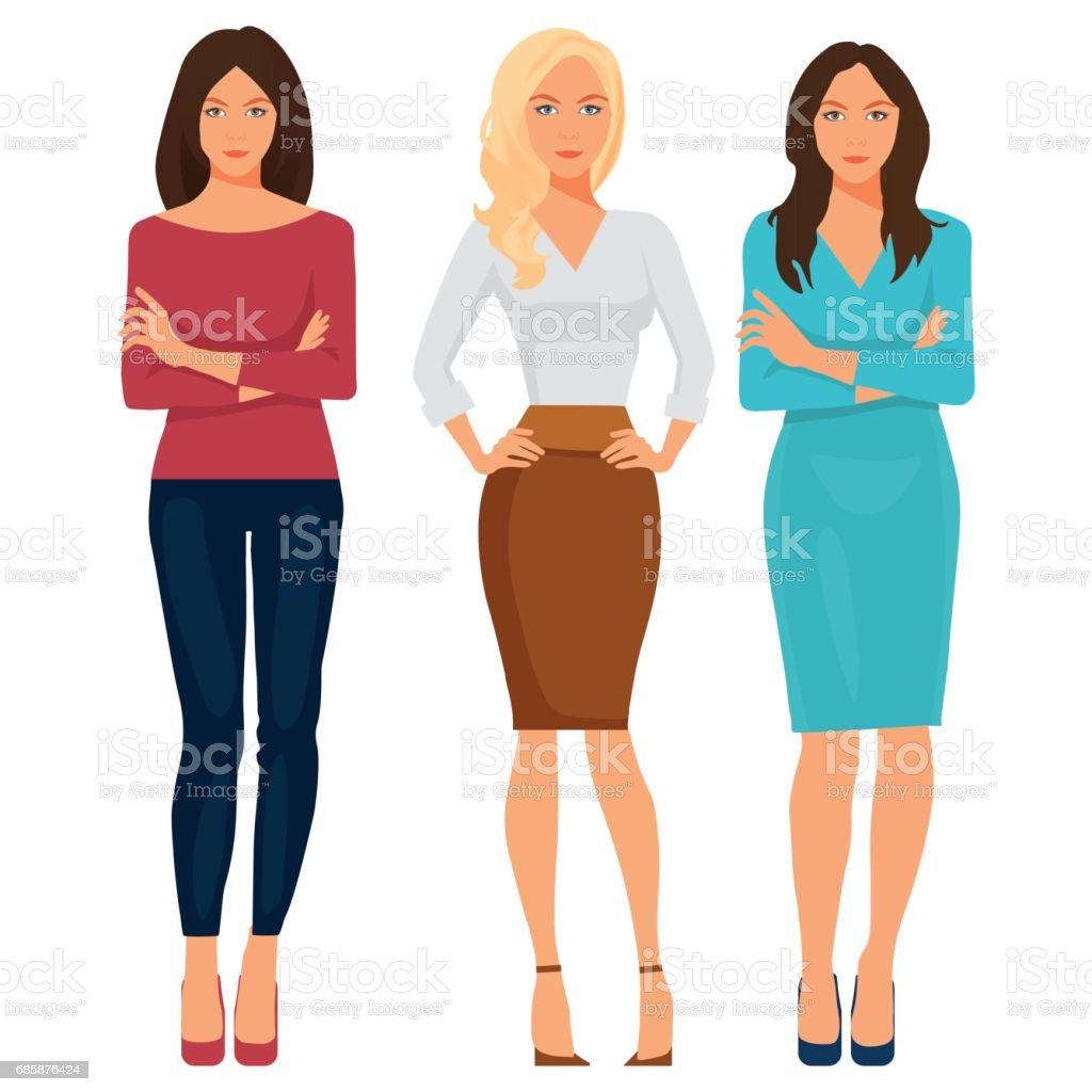 Belas moças vestidas de escritório elegante. Ilustração em vetor. - ilustração de arte em vetor