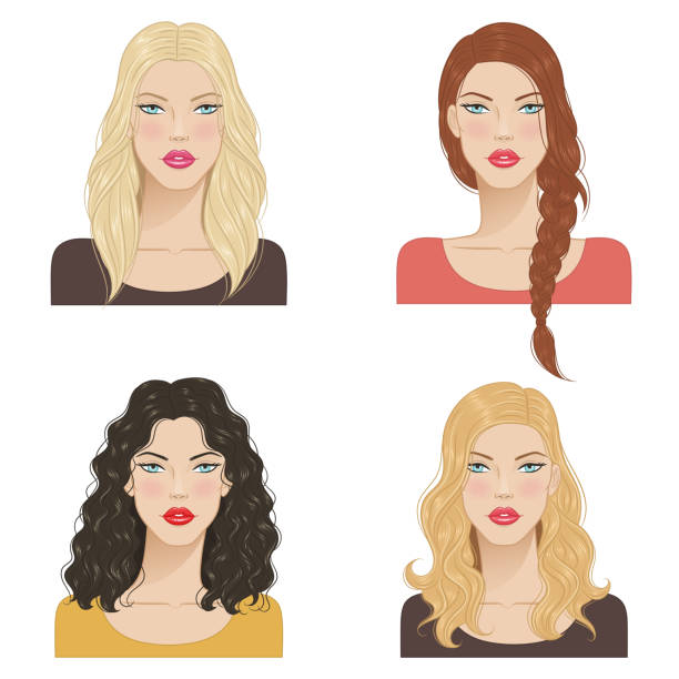 stockillustraties, clipart, cartoons en iconen met mooie jonge vrouwen met mode trendy kapsels. - blond curly hair