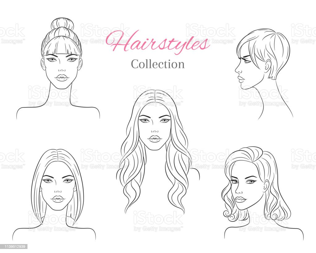 Beautiful young women with fashion trendy hairstyles vector sketch illustration royalty free beautiful