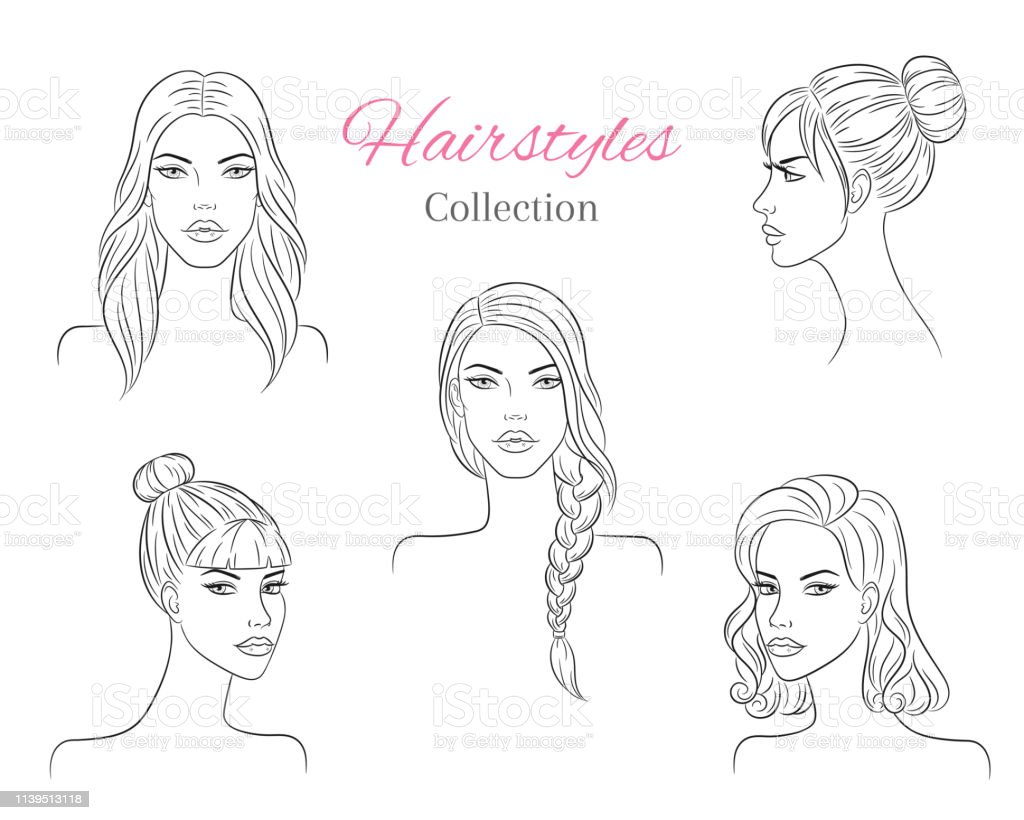 Beautiful Young Women With Fashion Trendy Hairstyles Vector