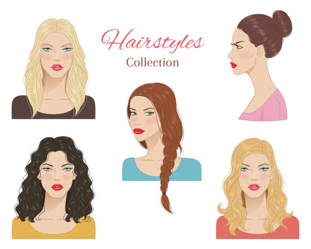 stockillustraties, clipart, cartoons en iconen met mooie jonge vrouwen met mode trendy kapsels. vector illustratie. - blond curly hair
