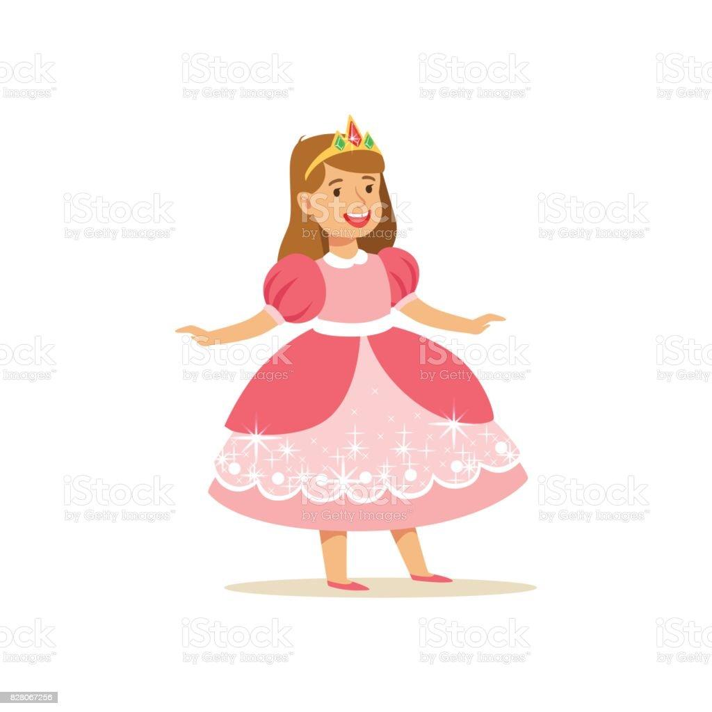 Ilustración de Bella Princesa De Niña En Rosa Vestido Y Tiara De Oro ...