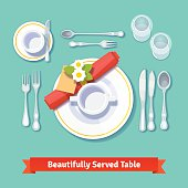 Beautifully served table. Formal dinner setting. Isolated flat style vector illustration.