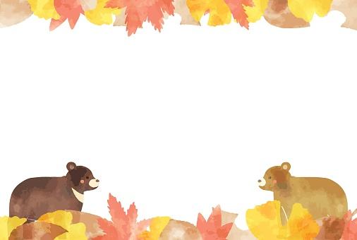 beautiful watercolor autumn leaves & bear frame