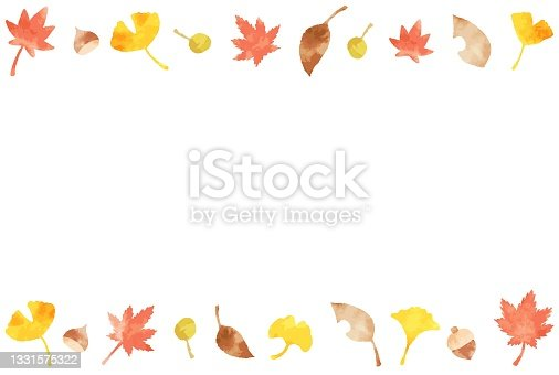 istock beautiful watercolor autumn leaves frame 1331575322