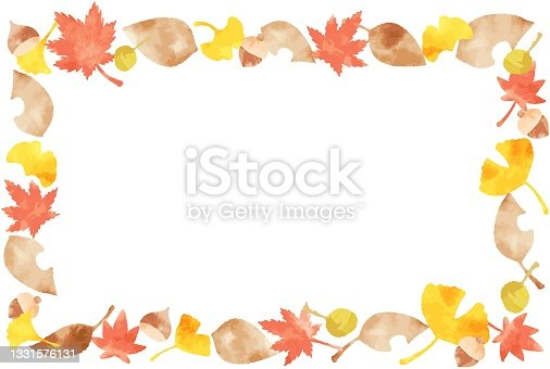 istock beautiful watercolor autumn leaves frame 1331576131