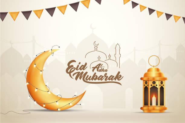 Beautilful Eid-al-adha Eid Mubarak Greetings Vector Illustration Background vector art illustration