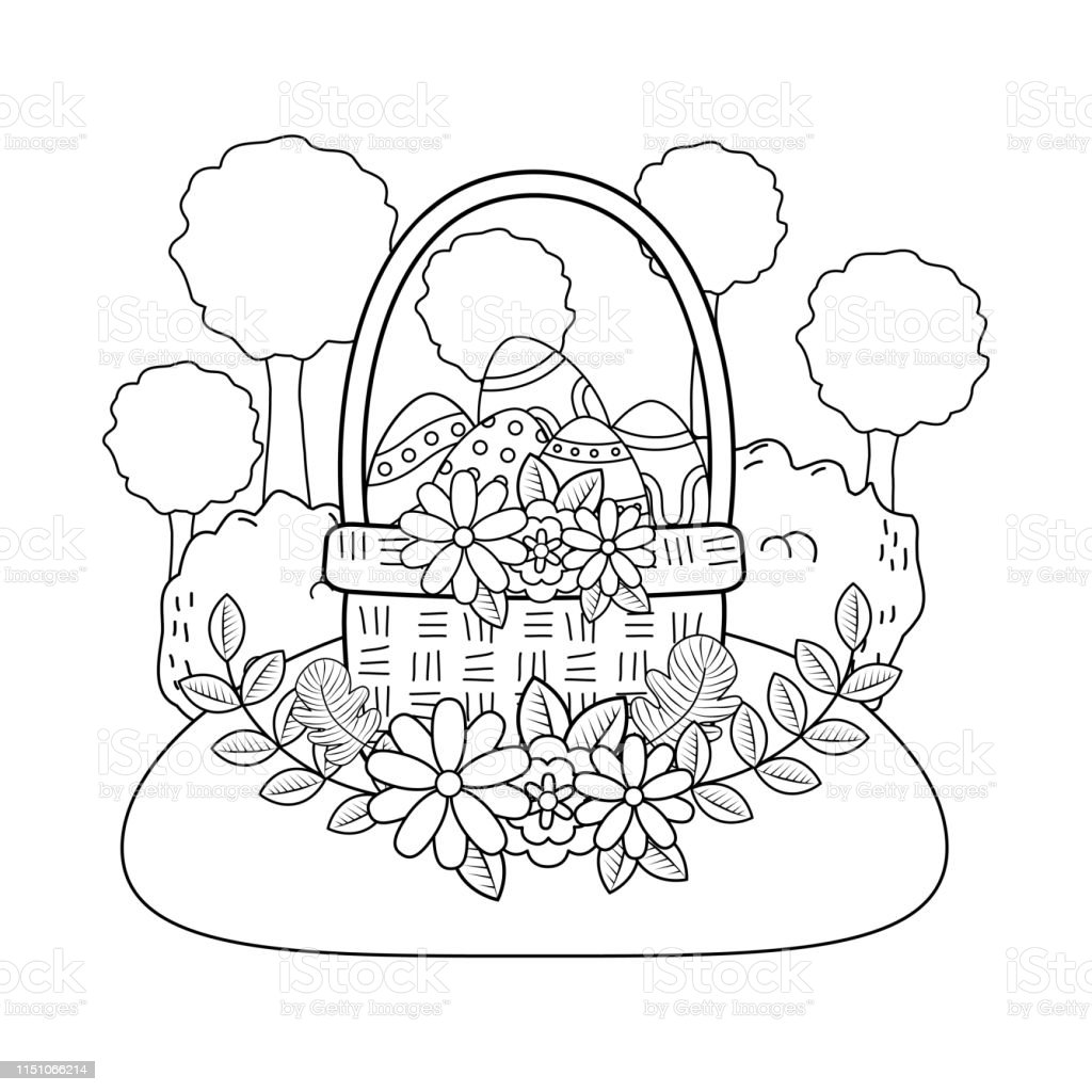 Beautitul Eggs Painted In Basket With Flowers Stock Illustration