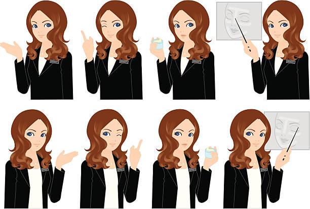 beauty adviser, businesswoman - travel agent stock illustrations, clip art, cartoons, & icons