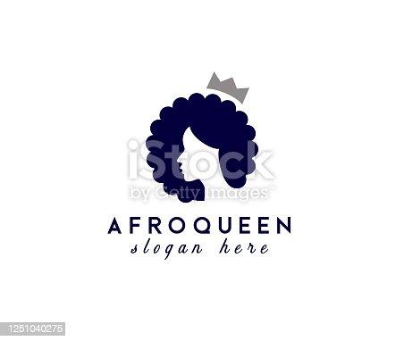 istock Beauty Afro Queen vector design template 1251040275