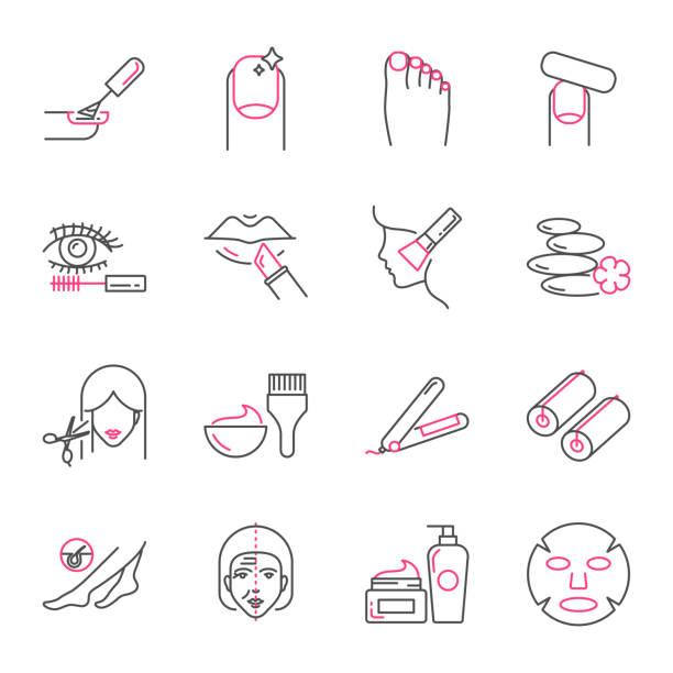 schönheit und pflege vektor icons set, umriss-stil - fußpflegeprodukte stock-grafiken, -clipart, -cartoons und -symbole