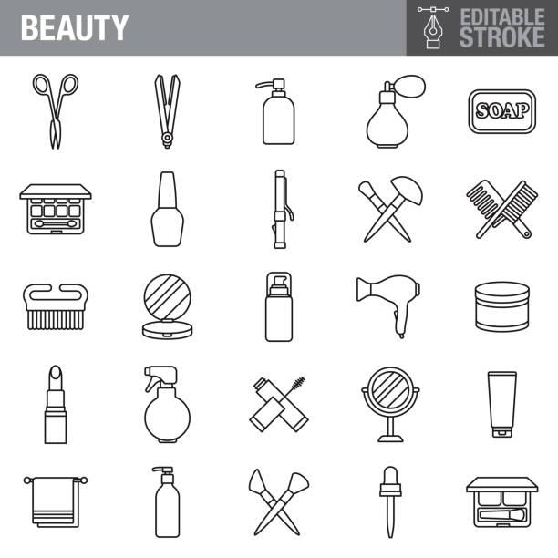 bildbanksillustrationer, clip art samt tecknat material och ikoner med skönhet och kosmetika redigerbara stroke icon set - makeup artist