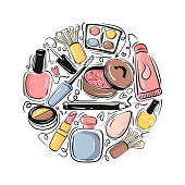 Beauty and Cosmetics Hand Drawn Vector Illustration.