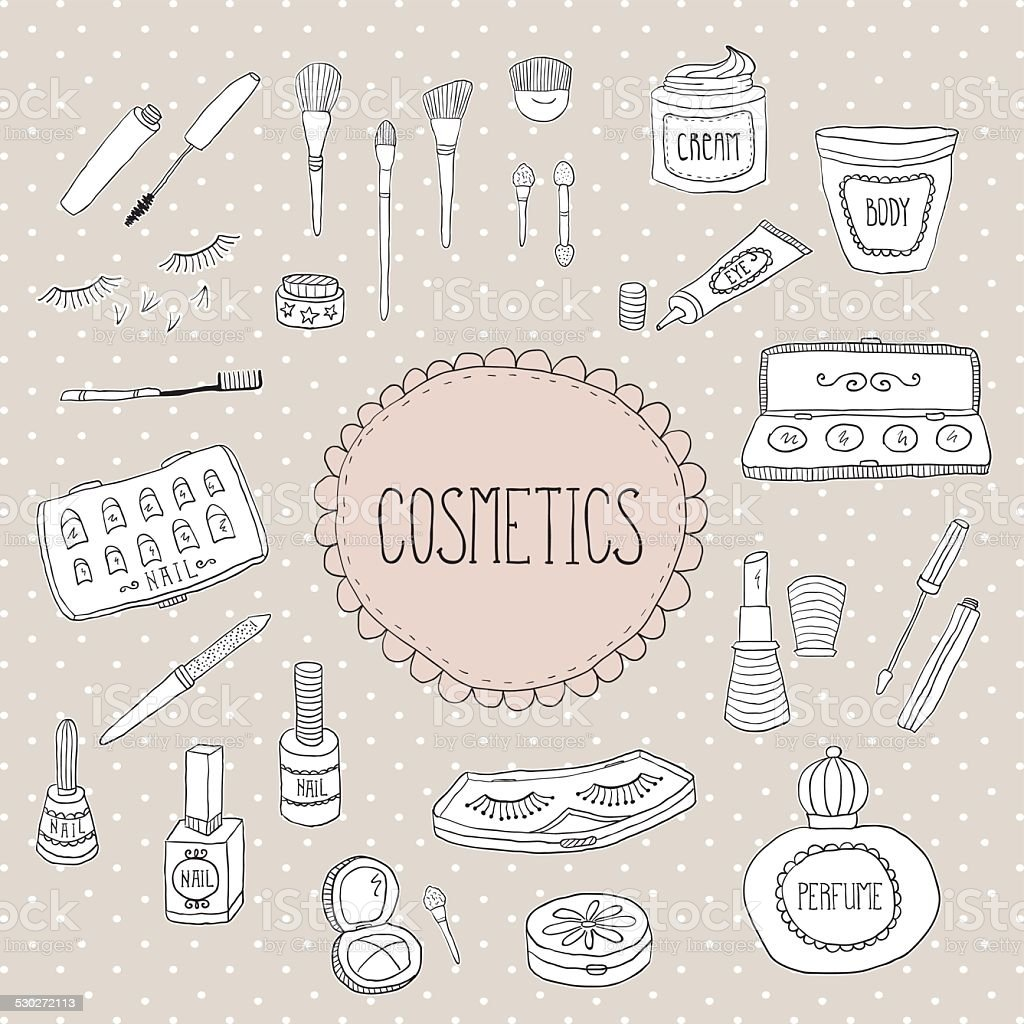 Beauty and cosmetics icons doodles vector art illustration