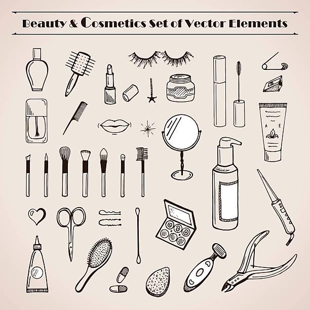 美しさと化粧品のベクトルスケッチアイコン - メイク点のイラスト素材/クリップアート素材/マンガ素材/アイコン素材
