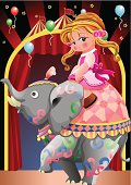 Vector illustration of Beauty and elephant in the circus tent.