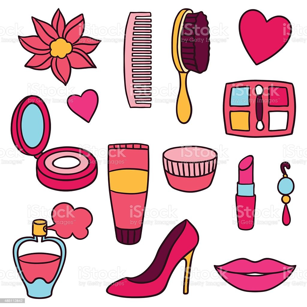 Beauty And Fashion Set Of Cosmetic Accessories Stock