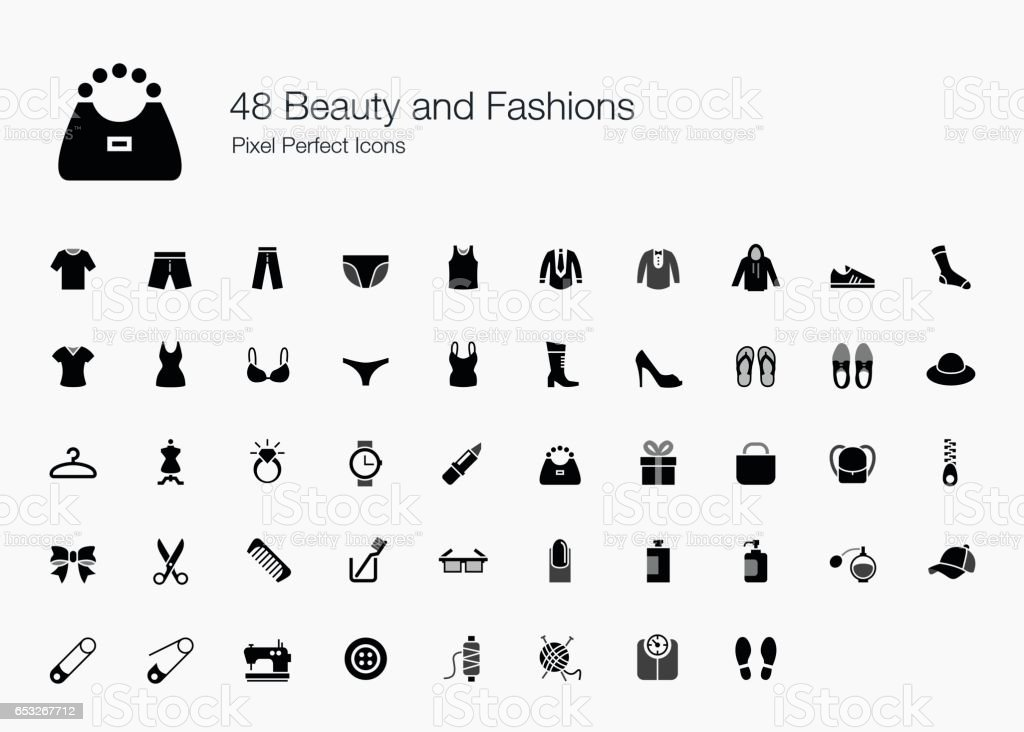 48 Beauty and Fashions Pixel Perfect Icons vector art illustration
