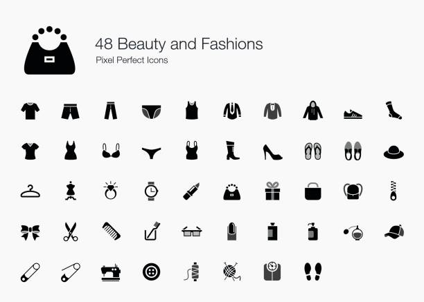 48 beauty and fashions pixel perfect icons - shoes fashion stock illustrations, clip art, cartoons, & icons
