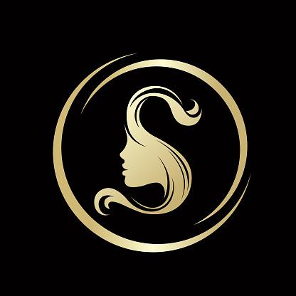 salon woman hair beauty letter silhouette face vector side portrait illustrations