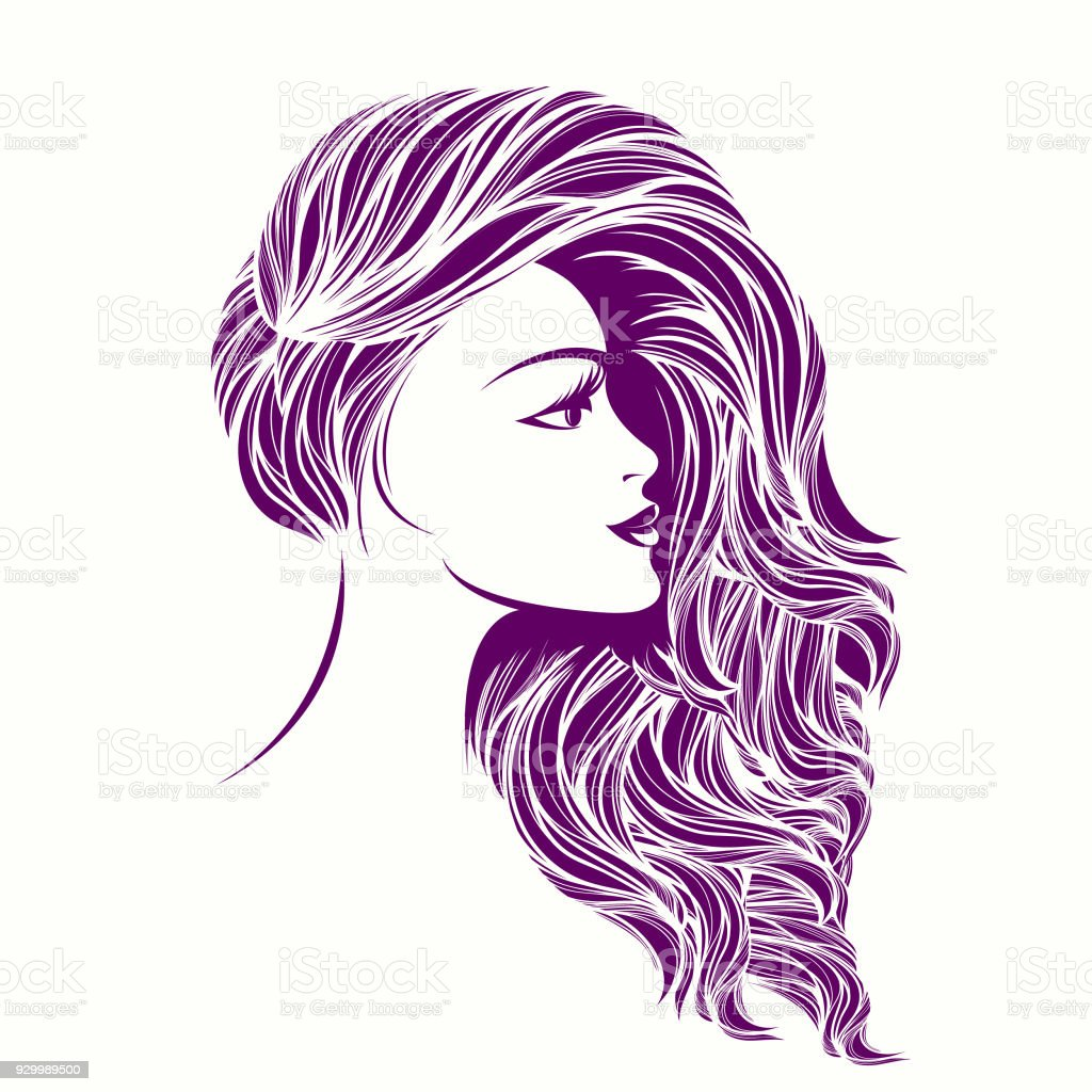 beauty and hair salon vector iconbeautiful woman with long