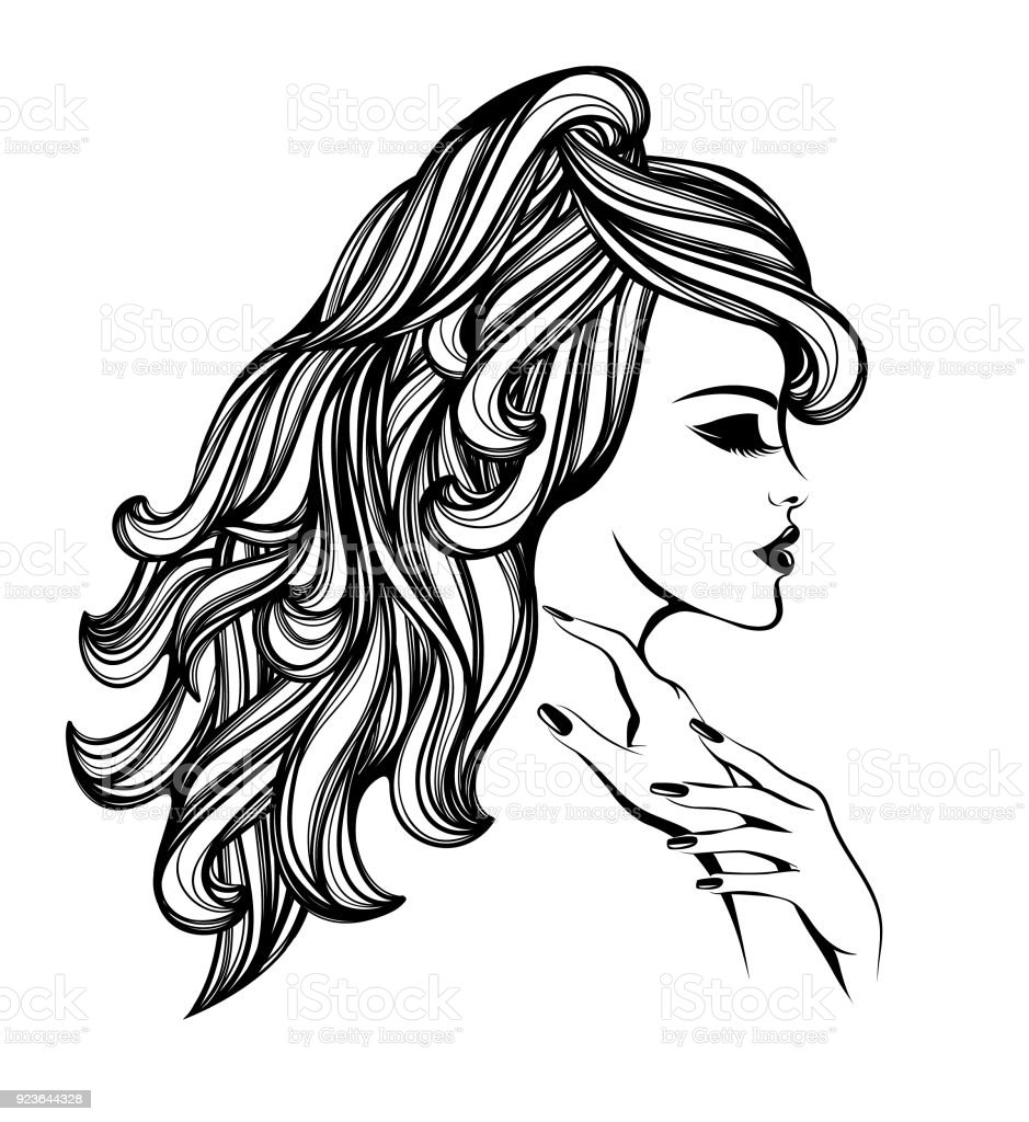 Wedding Hair Style Black Vector Art: Beauty And Hair Salon Vector Iconbeautiful Woman With Long