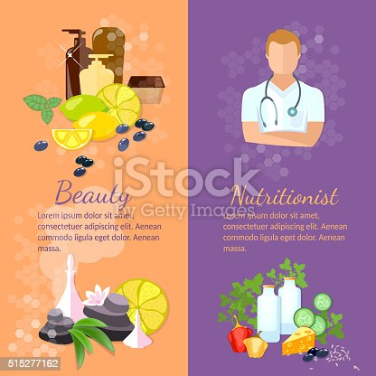 Beauty and health banner spa natural cosmetics dietetics professional nutritionist