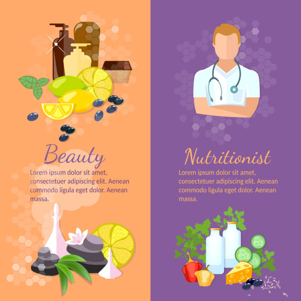 Beauty And Health Banner Spa Natural Cosmetics Dietetics Stock Illustration Download Image Now Istock