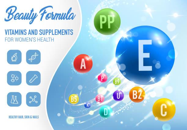 illustrations, cliparts, dessins animés et icônes de vitamines de beauté et de santé, compléments alimentaires - antioxydant